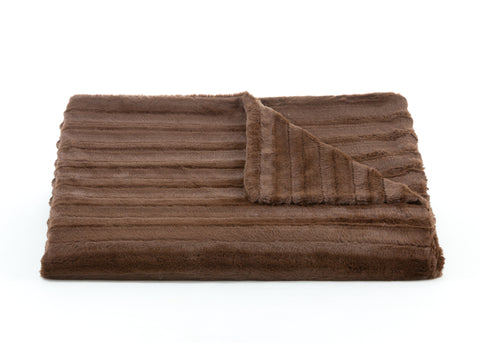Bedding - Channel Faux Fur Throw & Coverlet - Chocolate Brown