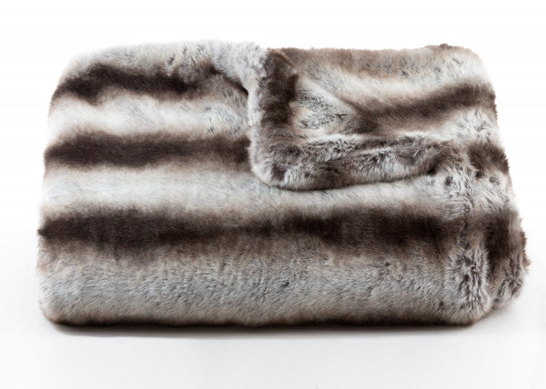 Bedding - Chinchilla Faux Fur Throw & Coverlet - Gray