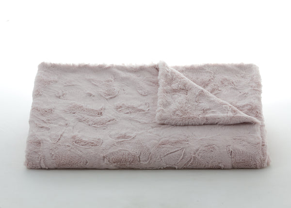 Bedding - Lux Rabbit Faux Fur Throw & Coverlet - Blush