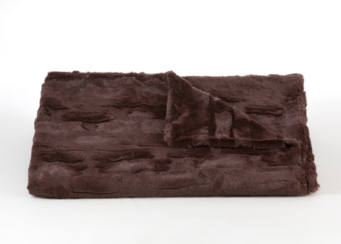 Bedding - Lux Rabbit Faux Fur Throw & Coverlet - Chocolate