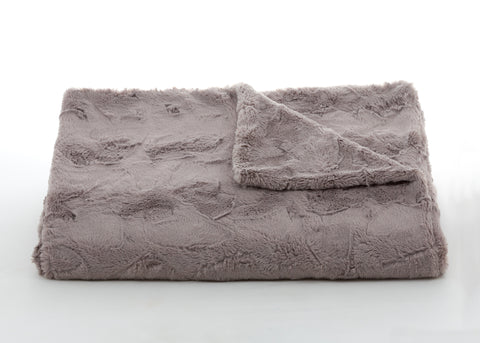 Bedding - Lux Rabbit Faux Fur Throw & Coverlet - Taupe