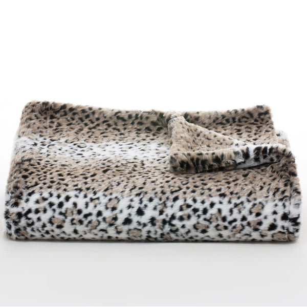 Bedding - Lynx Faux Fur Throw & Coverlet - Slate