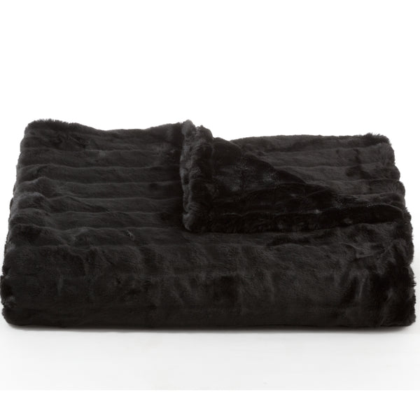 Bedding - Mink Faux Fur Throw & Coverlet - Black