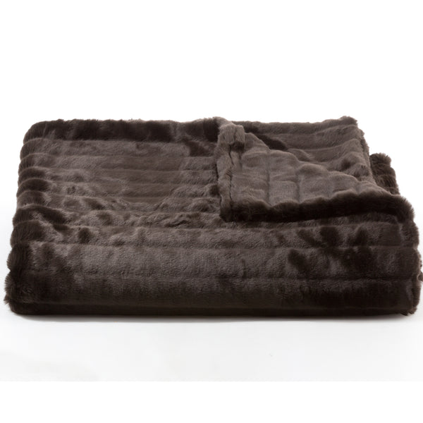 Bedding - Mink Faux Fur Throw & Coverlet- Chocolate Brown