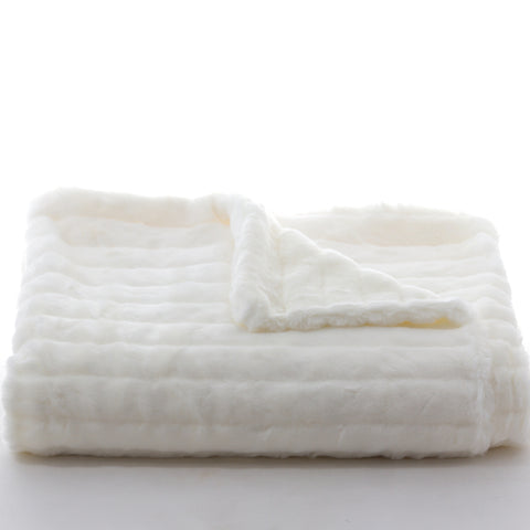 Bedding - Mink Faux Fur Throw & Coverlet - Ivory