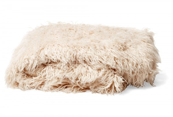 Bedding - Mongolian Faux Fur Throw - Pearl