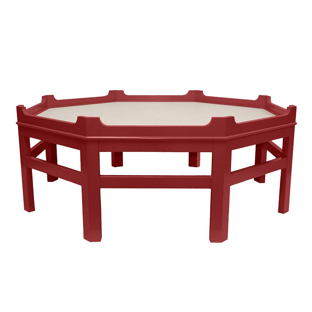 Westport Octagon Lacquer Coffee Table – Red (Additional Colors Available)