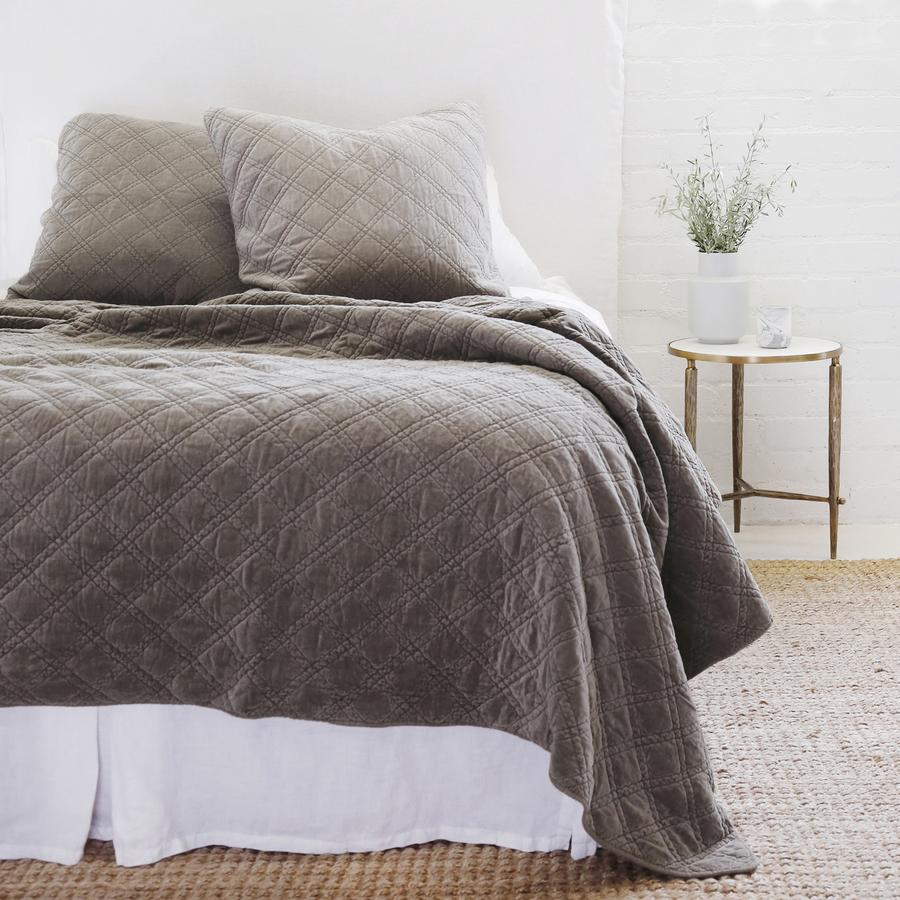 POM POM AT HOME BRUSSELS - PEWTER - COVERLET