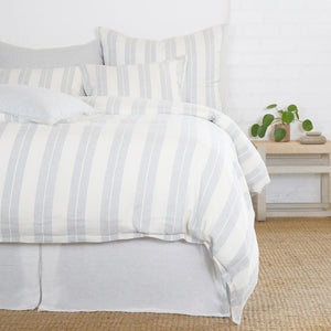 POM POM AT HOME CARTER-IVORY/DENIM-DUVET-COVER