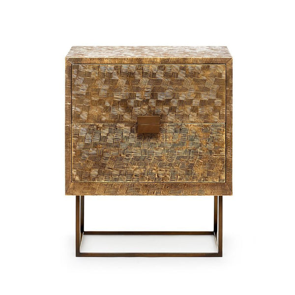 Bungalow 5 Two-Drawer Metal-Clad Side Table in Antique Brass
