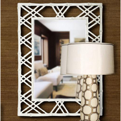 Bungalow 5 Lattice Mirror – White Lacquer
