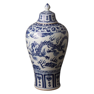 Decor - Chinese Dragon Chinoiserie Jar - Blue & White