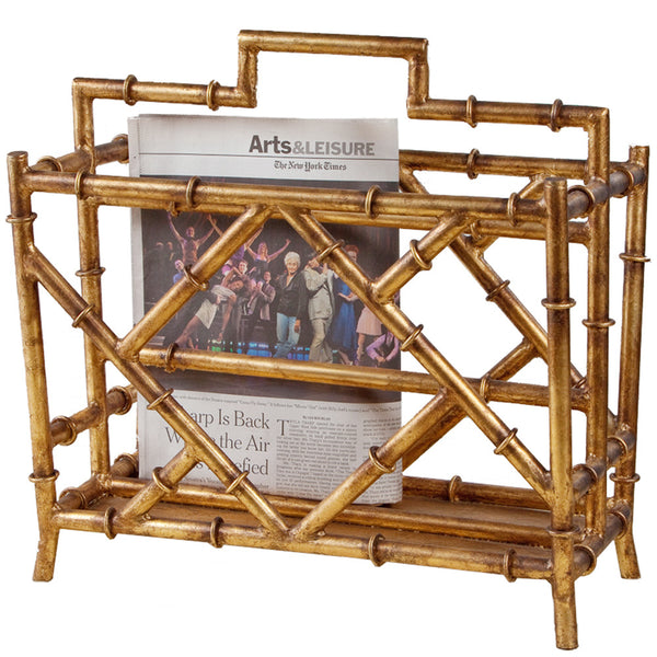 Decor - Faux Bamboo Magazine Rack – Antique Gold