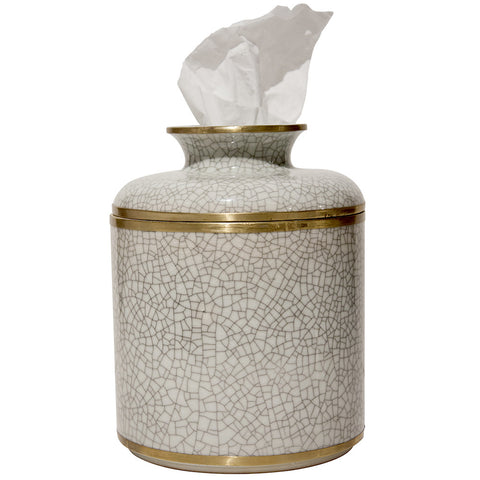 Decor - Ivory Crackle Tissue Box
