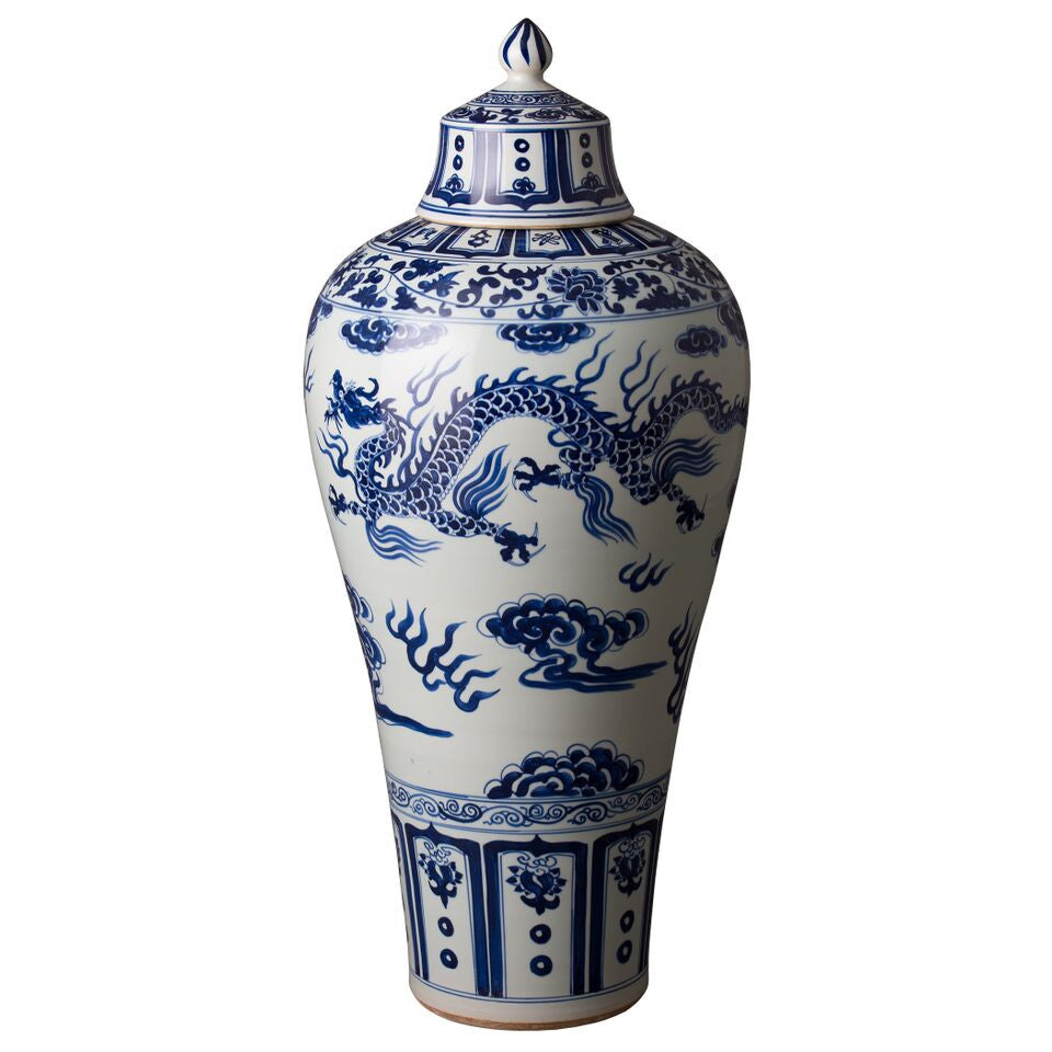 Decor - Large Chinese Dragon Chinoiserie Jar - Blue & White