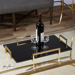 Decor - Luxe Tray – Black With Gold Handles