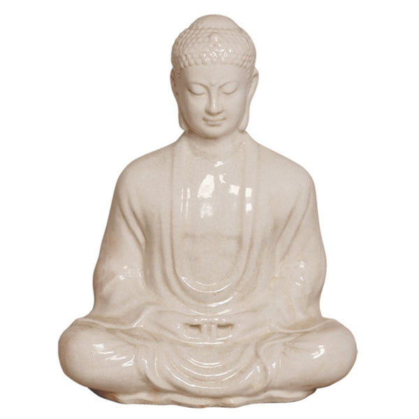 Decor - Meditating Buddha Statue - Cream