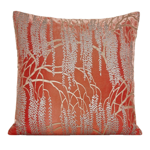 Decor - Metallic & Velvet Willow Pillow-Coral