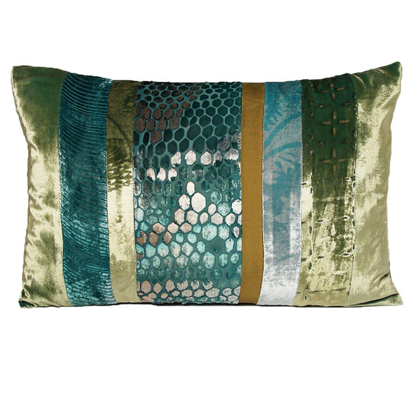 Decor - Patchwork Velvet Pillow-Aqua