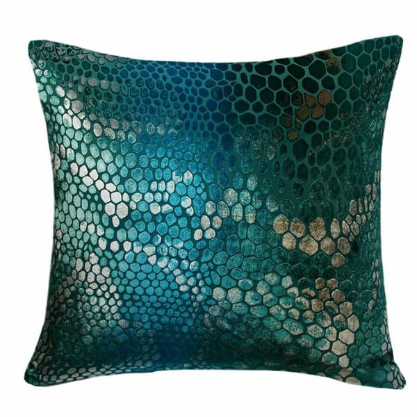 Decor - Snake Print Velvet Pillow-Aqua