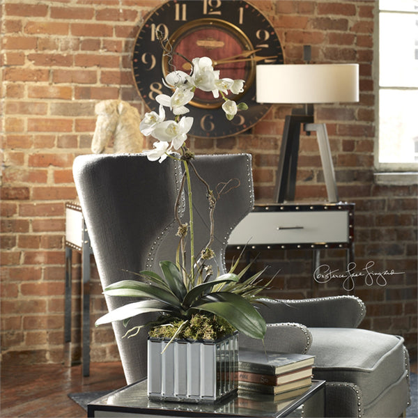 Decor - White Orchid With Mirrored Planter