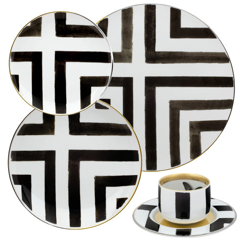 5 Piece Place-Setting Christian Lacroix Graphic Stripes Dinnerware - Black & White