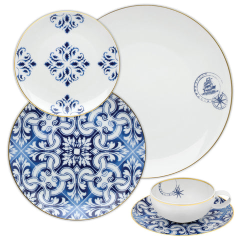 Dinnerware - 5 Piece Place Setting Trans Atlantic Dinnerware - Blue