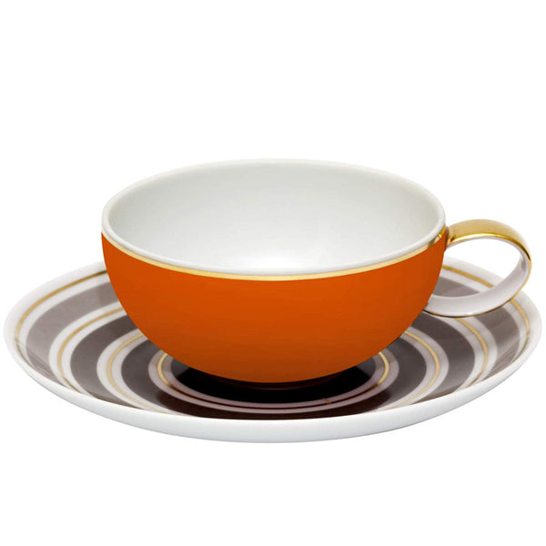 Dinnerware - Set Of 4 Concentric Rings Teacup & Saucer - Taupe & Orange