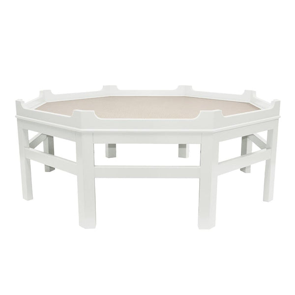 Westport Octagon Lacquer Coffee Table – White (16 colors available)