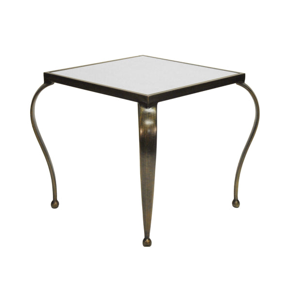 Worlds Away Square Side Table with Antique Mirror Top - Bronze