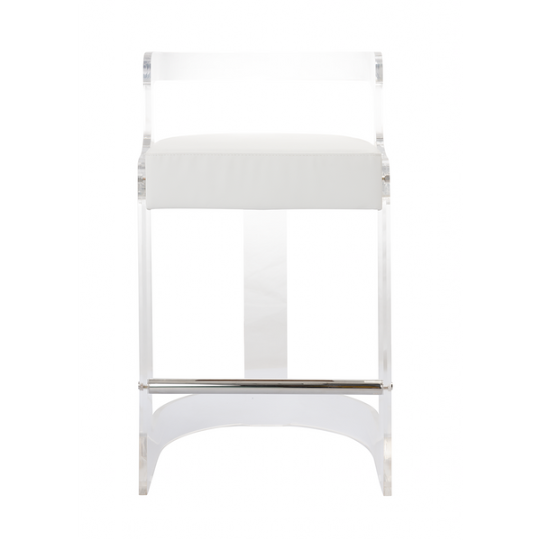 Worlds Away Clear Barrel Back Counter Stool with Nickel Accents – White