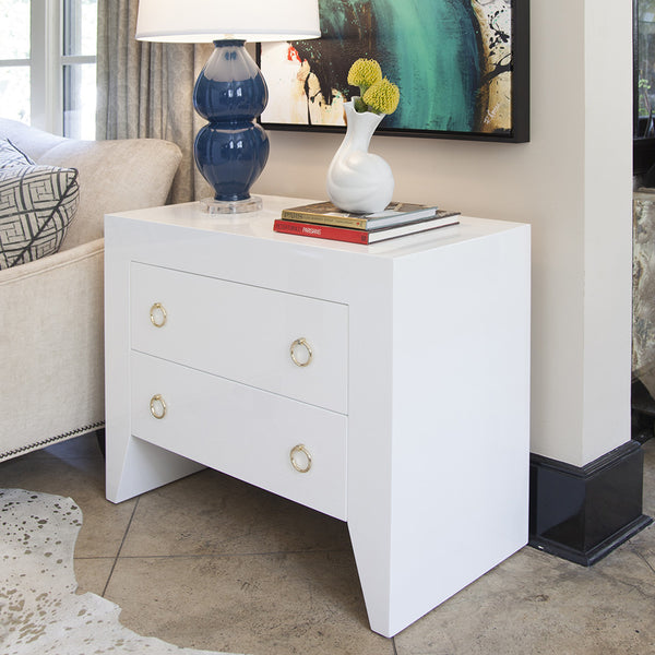Worlds Away Angular White Lacquer Nightstand – Nickel Hardware