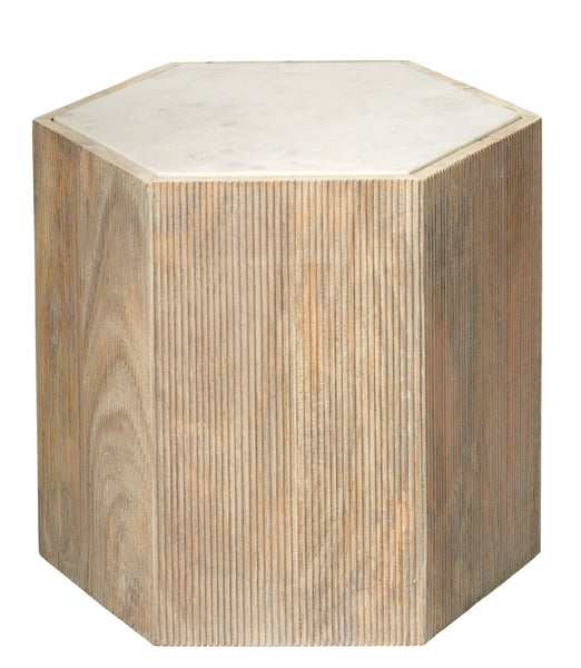 Large Argan Hexagon Table in Natural Wood & White Marble