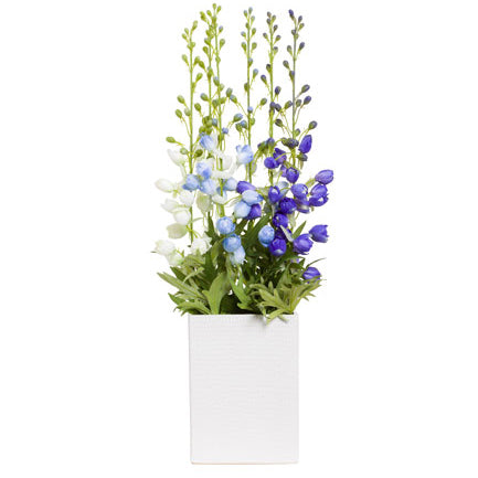 Silk Delphinium in White Vase