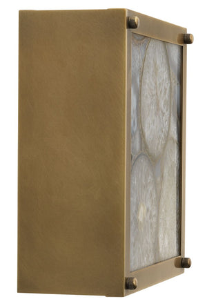 Leopold Framed Square Wall Sconce in Agate Resin & Antique Brass