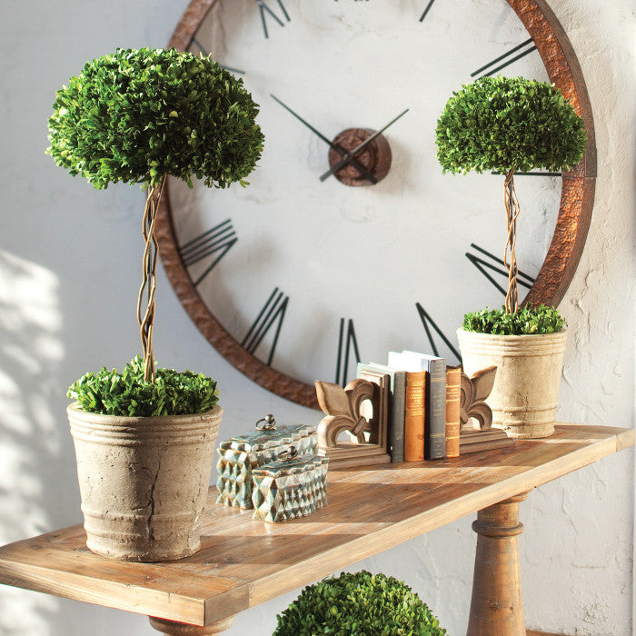 faux florals boxwood topiary tree in mossy pot
