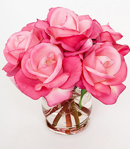 Faux Florals - Bright Pink Silk Rose Arrangement