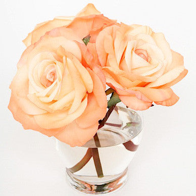 Faux Florals - Peach Silk Roses In Vase