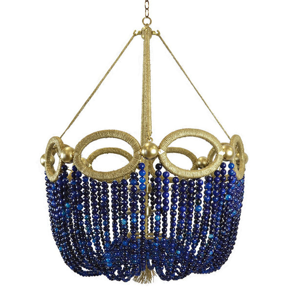 Fiona Beaded Chandelier – Navy Agate Beads