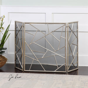 Fireplace Accessories - Geometric Pattern Iron Fireplace Screen In Antique Silver Leaf