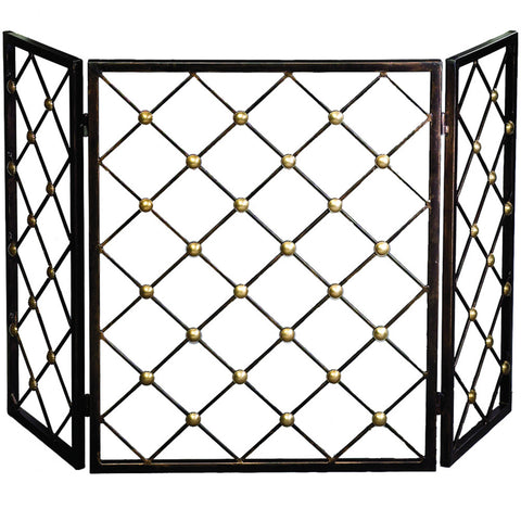 Fireplace Accessories - Gold Dotted Fireplace Screen