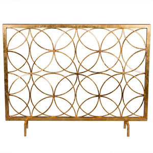 Fireplace Accessories - Interlocking Circles Fireplace Screen – Antique Gold