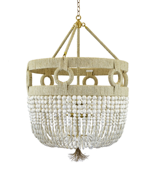 "24"" Frankie Malibu Beaded Chandelier - White Swirl Beads"