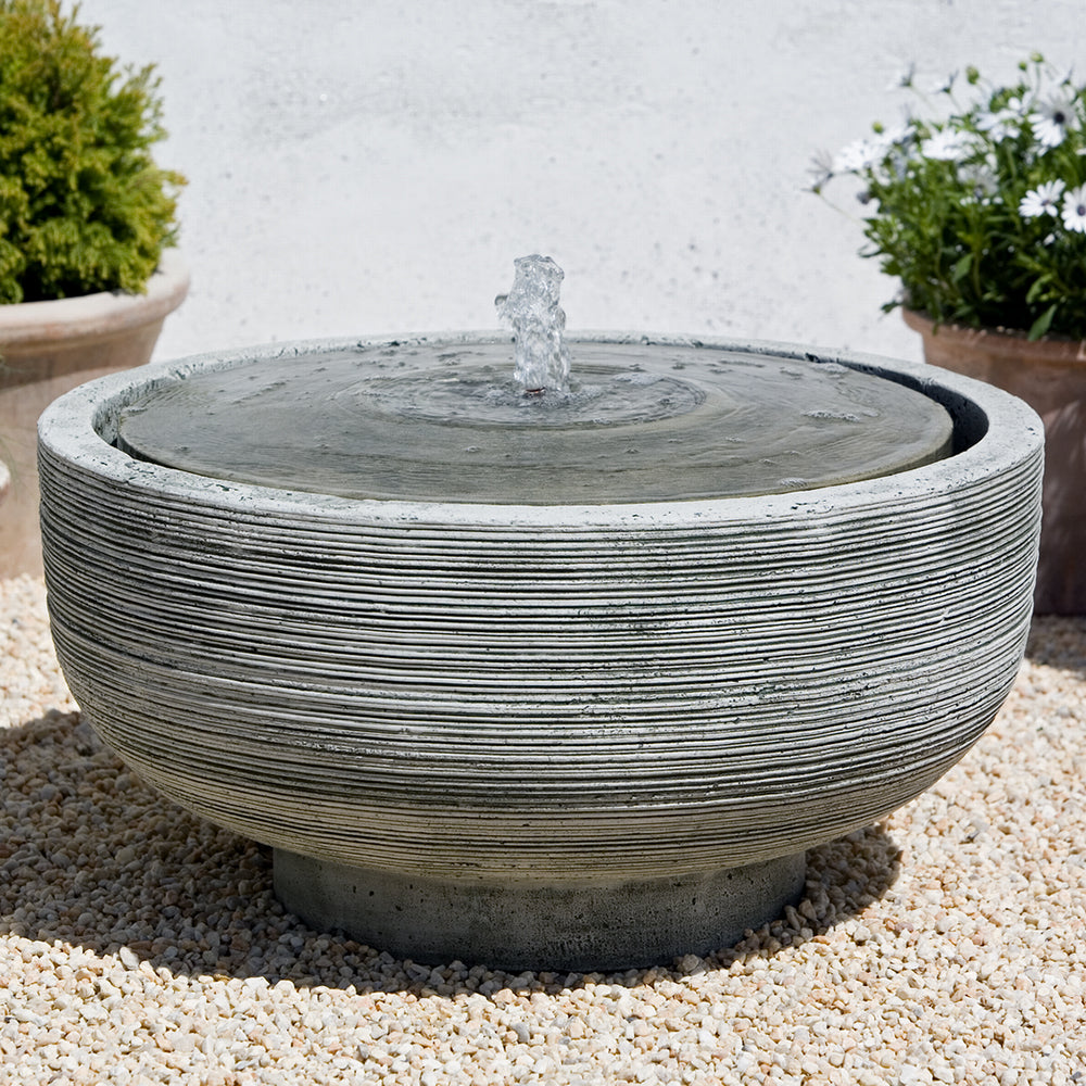 Ridged Round Stone Fountain - Alpine Stone Patina