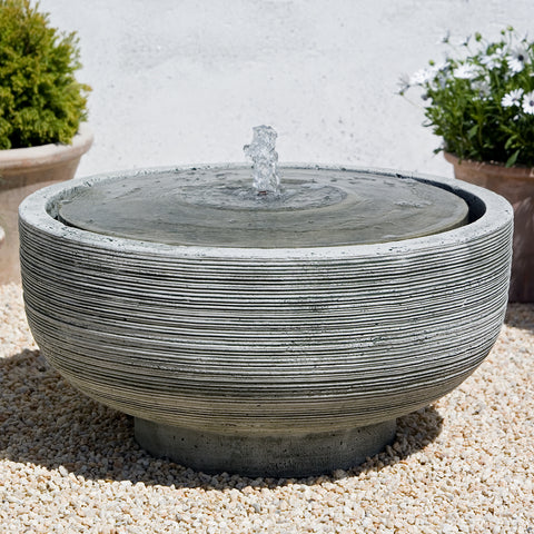 Ridged Round Stone Fountain - Dark Grey Patina