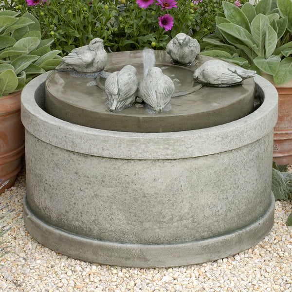 Bird Sculpture Low Round Fountain - Dark Grey Patina