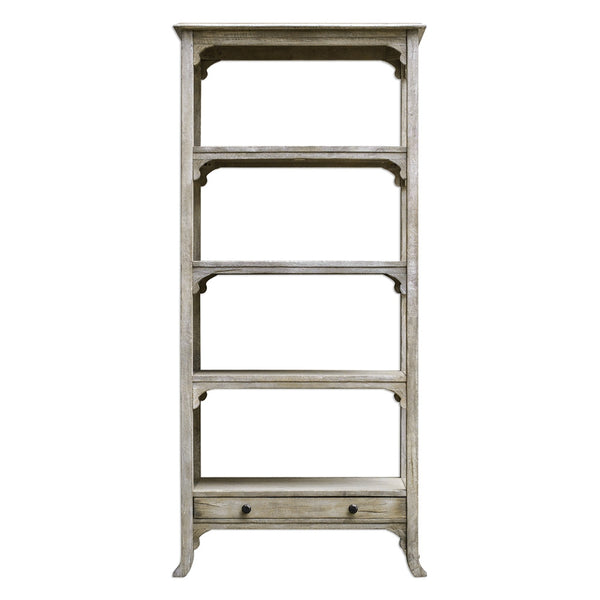 Furniture - Aged White Mango Wood Etagere With Brass Hardware