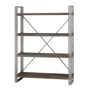 Furniture - Antiqued Silver & Weathered Wood Etagere Shelf