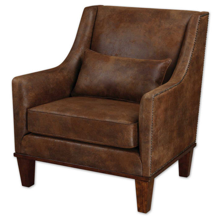 Furniture - Brown Faux Leather Nailhead Armchair