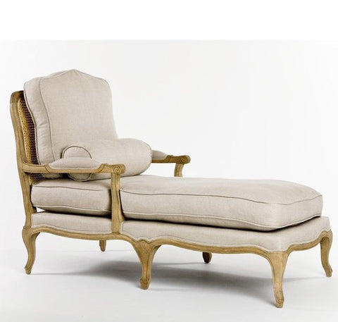Furniture - Chateau French Chaise - Natural Linen